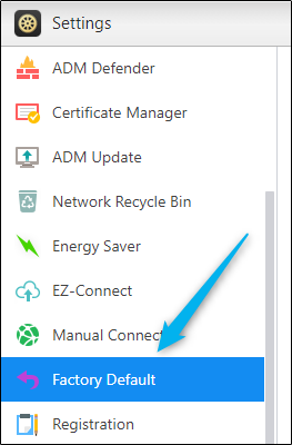Factory default button in Settings window