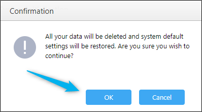 Final confirmation window for factory resetting the ASUSTOR NAS