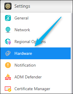 Hardware button in settings window