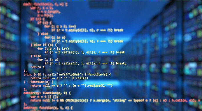 source code superimposed on data centre