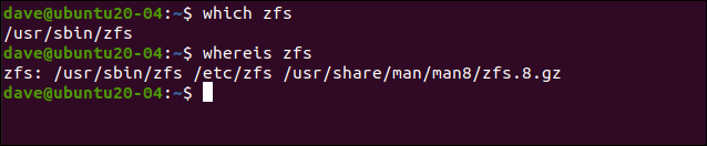 which zfs in a terminal window