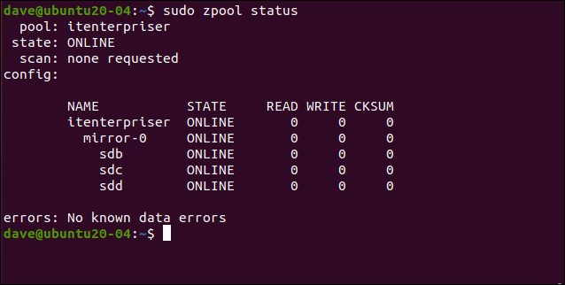 sudo szpool status in a terminal window