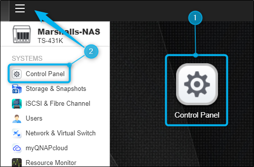 Control Panel app in QTS