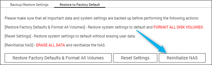Options to restore QNAP NAS to factory default in system settings