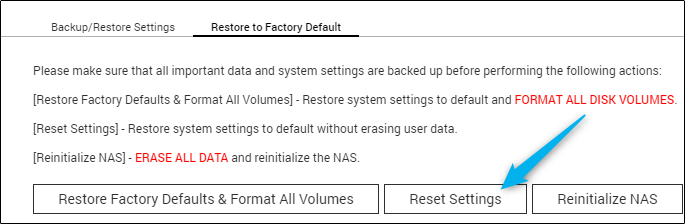 Reset settings button in QNAP QTS
