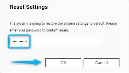 Reset settings password confirmation