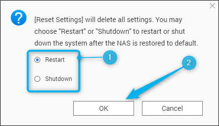 Reset settings reboot options and confirmation