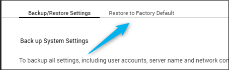 Restore to factory default tab in control panel