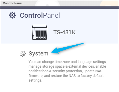 System settings in Control Panel app for QNAP NAS
