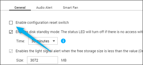 unchecked box next to enable configuration reset switch option