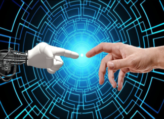 artificial and human had reaching toward each other